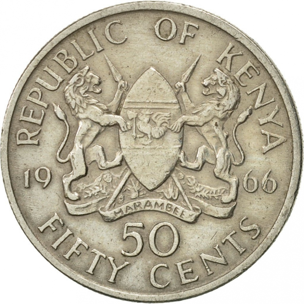 1966 50 Cents Old Kenya Coin Circulated