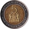 5 Shillings 1995-1997, KM# 30, Kenya