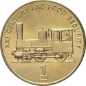 1 Chon 2002, KM# 195, Korea, North, Food and Agriculture Organization (FAO), Steam Locomotive