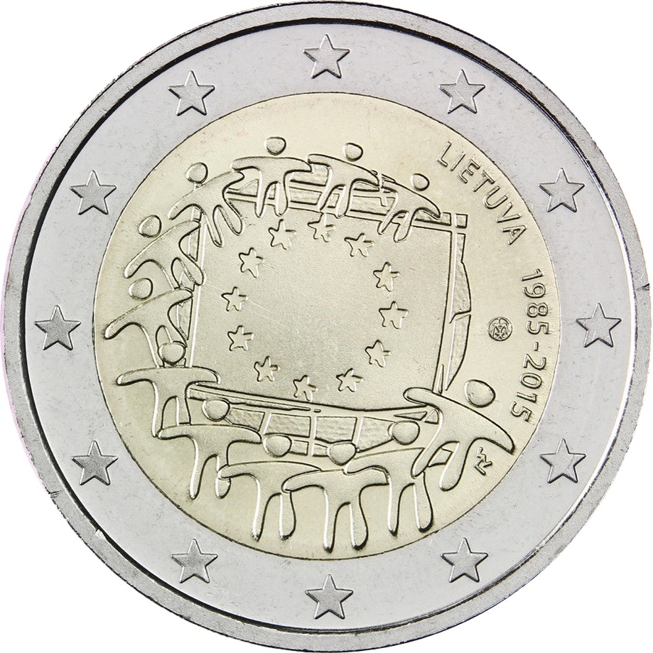 2 Euro 2015, Schön# 144, Lithuania, 30th Anniversary of the Flag of Europe