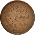 25 Centimes 1930, KM# 42, Luxembourg, Charlotte