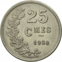 25 Centimes 1938, KM# 42a, Luxembourg, Charlotte