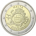 2 Euro 2012, KM# 139, Malta, 10th Anniversary of Euro Coins and Banknotes