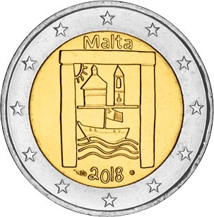 2 Euro 2018, Malta, From Children in Solidarity, Cultural Heritage, In BU coincard, with mintmarks