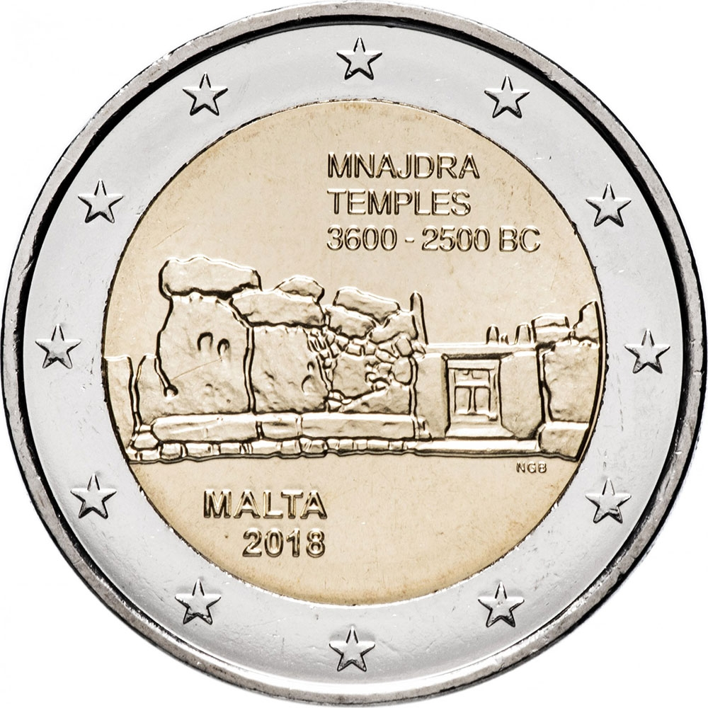 2 Euro 2018, Malta, Maltese Prehistoric Sites, Mnajdra Temples, Without mintmark