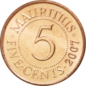 5 Cents 1987-2012, KM# 52, Mauritius
