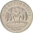 5 Rupees 1987-2012, KM# 56, Mauritius