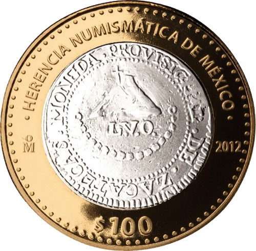 100 Pesos 2012, KM# 965, Mexico, Numismatic Heritage of Mexico, Ferdinand VII Provisional Royalist 8 Reales
