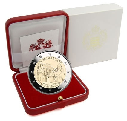 2 Euro 2017, Monaco, Albert II, 200th Anniversary of the Prince's Company of Carabiniers, Red leather case with the certificate