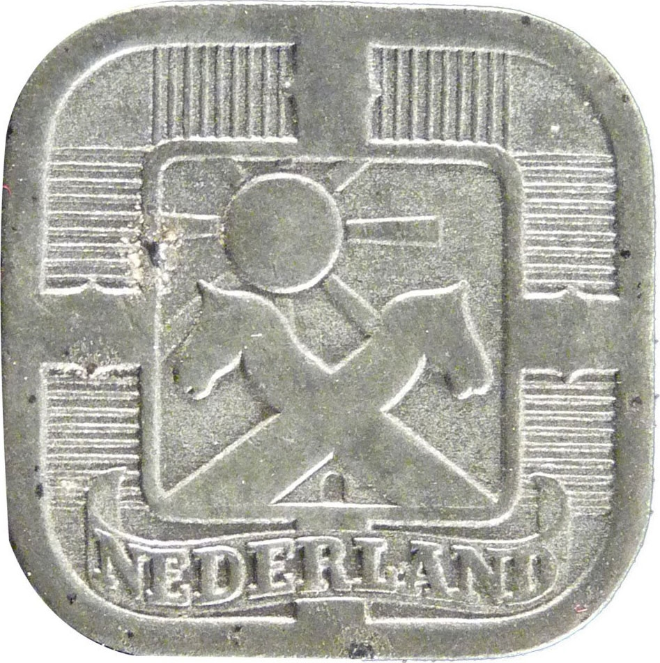 Netherlands 1941-5 Cents Zinc Coin German Occupation WWII mintage
