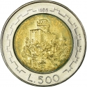 500 Lire 1988, KM# 226, San Marino, Fortifications, Second Tower