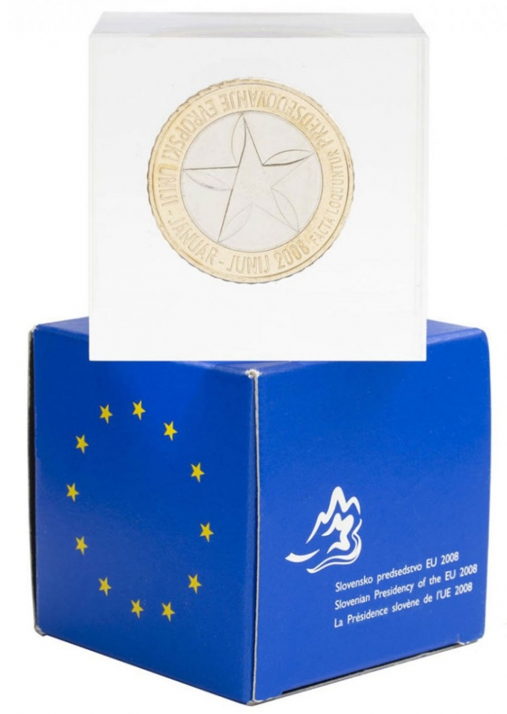 3 Euro 2008, KM# 81, Slovenia, Presidency of the Council of the European Union, Slovenia, Proof in acrylic cube