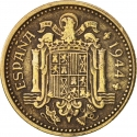1 Peseta 1944, KM# 767, Spain, Francisco Franco
