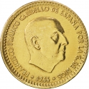 1 Peseta 1967-1975, KM# 796, Spain, Francisco Franco