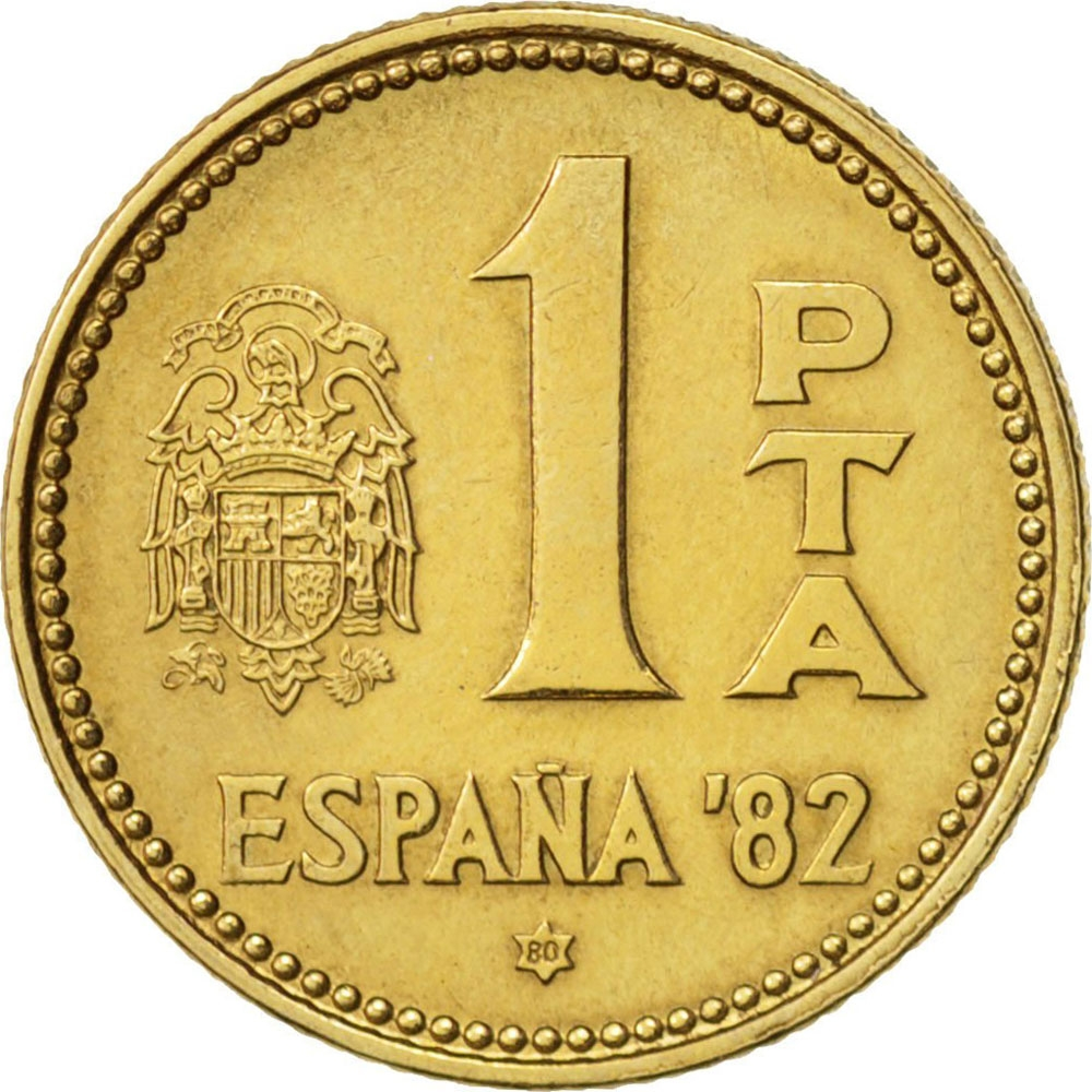 1 Peseta 1980-1982, KM# 816, Spain, Juan Carlos I, 1982 Football (Soccer) World Cup in Spain