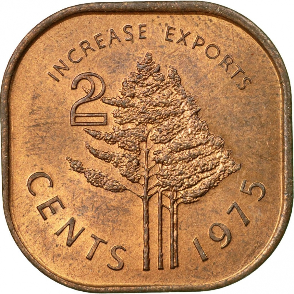 2 Cents 1975, KM# 22, Swaziland (eSwatini), Sobhuza II, Food and Agriculture Organization (FAO), Increase Exports