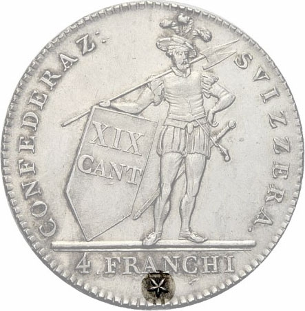 4 Franchi 1814, KM# 6, Ticino, With star (Lucerne Mint)