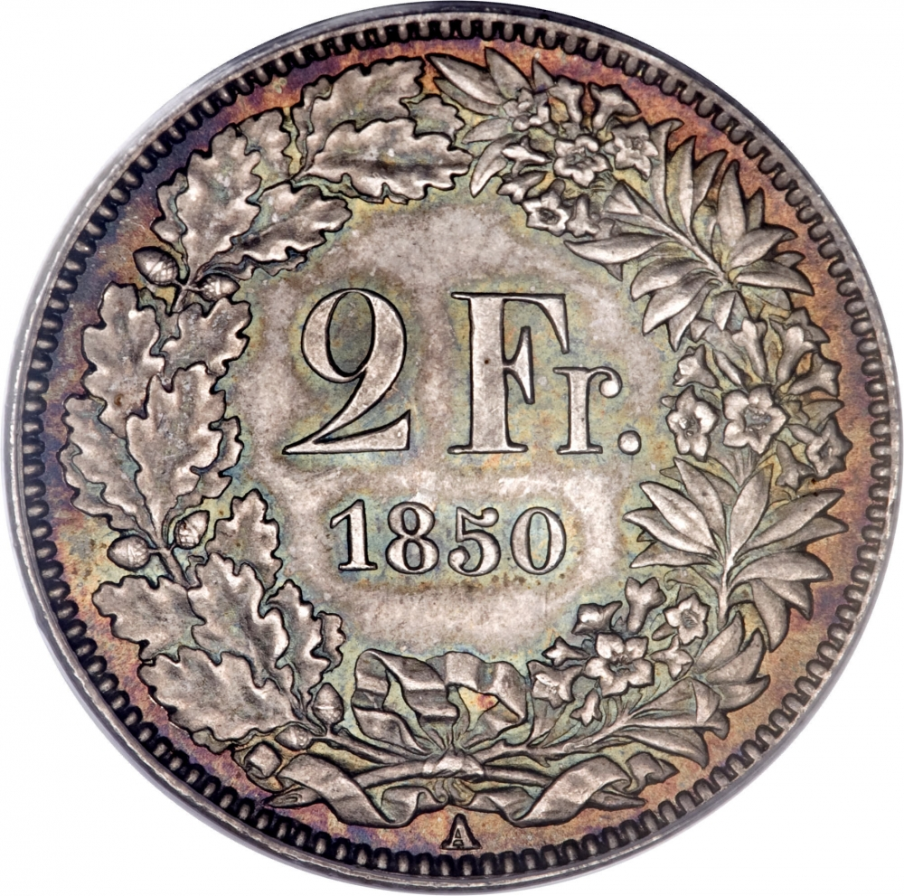 2 Francs 1850-1857, KM# 10, Switzerland
