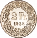 2 Francs 1874-1967, KM# 21, Switzerland