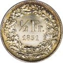 1/2 Franc 1850-1851, KM# 8, Switzerland