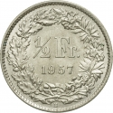1/2 Franc 1875-1967, KM# 23, Switzerland