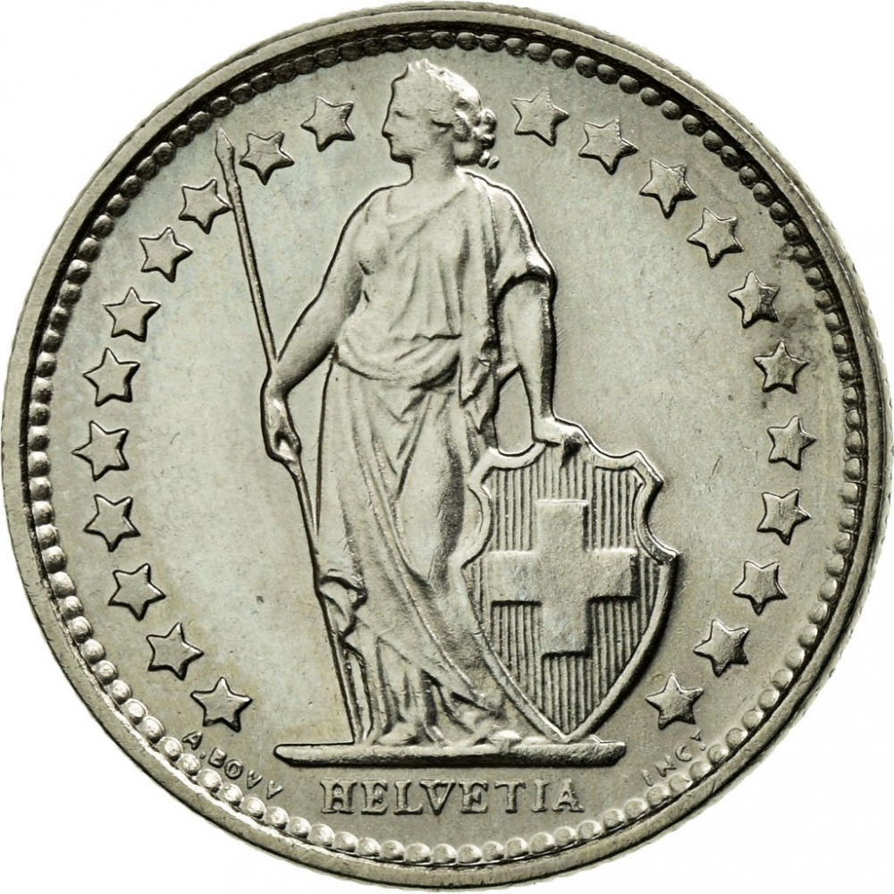 1/2 Franc 1968-2020, KM# 23a, Switzerland, With 22 stars