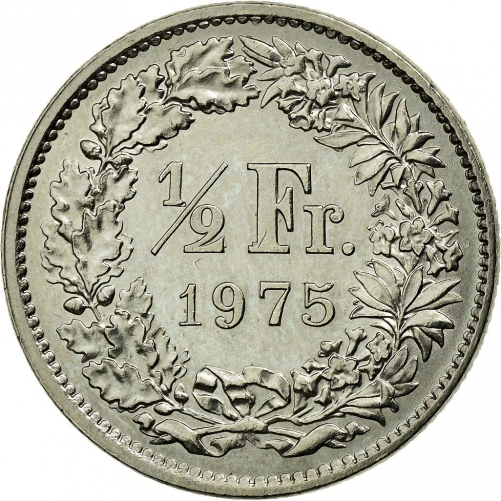 1/2 Franc 1968-2020, KM# 23a, Switzerland, Without mintmark