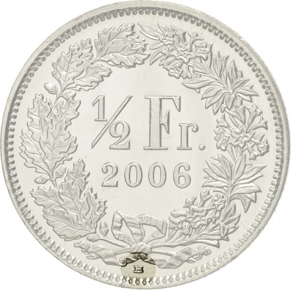 1/2 Franc 1968-2020, KM# 23a, Switzerland, With mintmark
