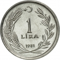 1 Lira 1981, KM# 943, Turkey