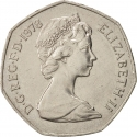 50 New Pence 1969-1981, KM# 913, United Kingdom (Great Britain), Elizabeth II