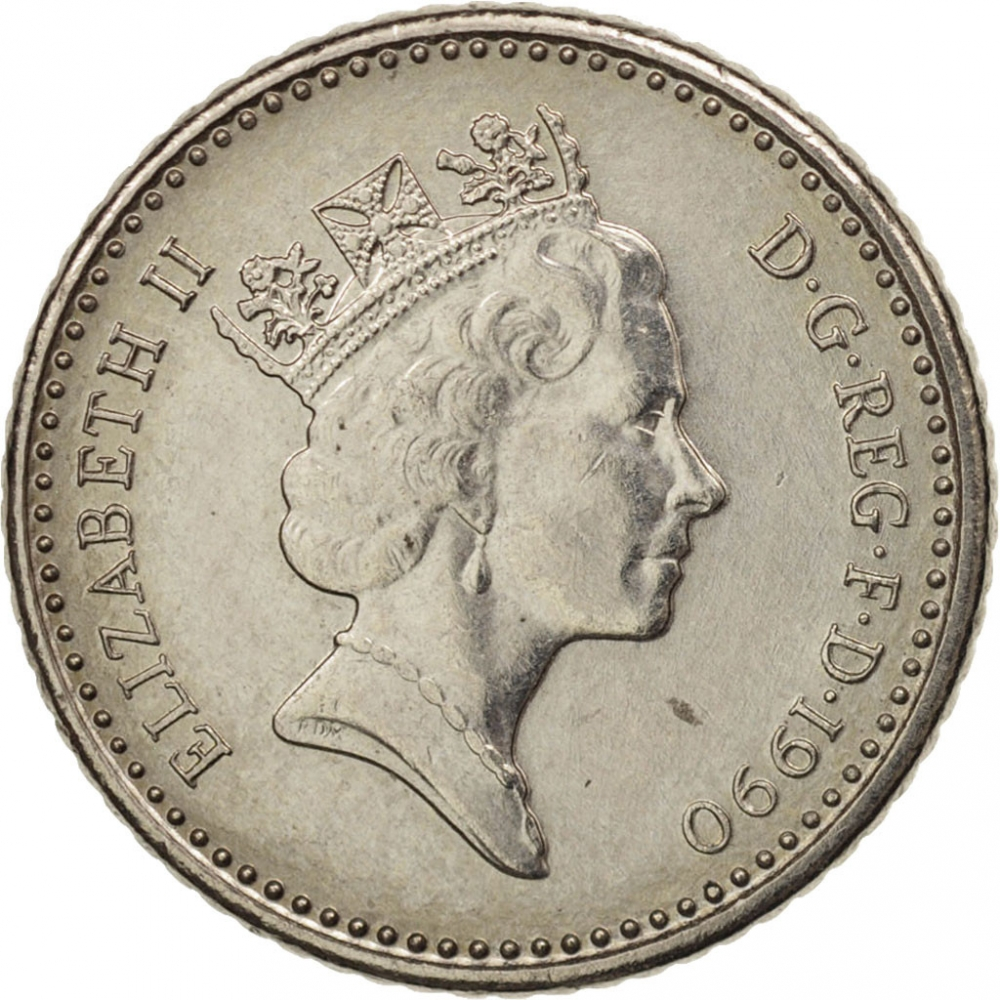 5 Pence 1990-1997, KM# 937b, United Kingdom (Great Britain), Elizabeth II