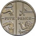 5 Pence 2011-2015, KM# 1109d, United Kingdom (Great Britain), Elizabeth II