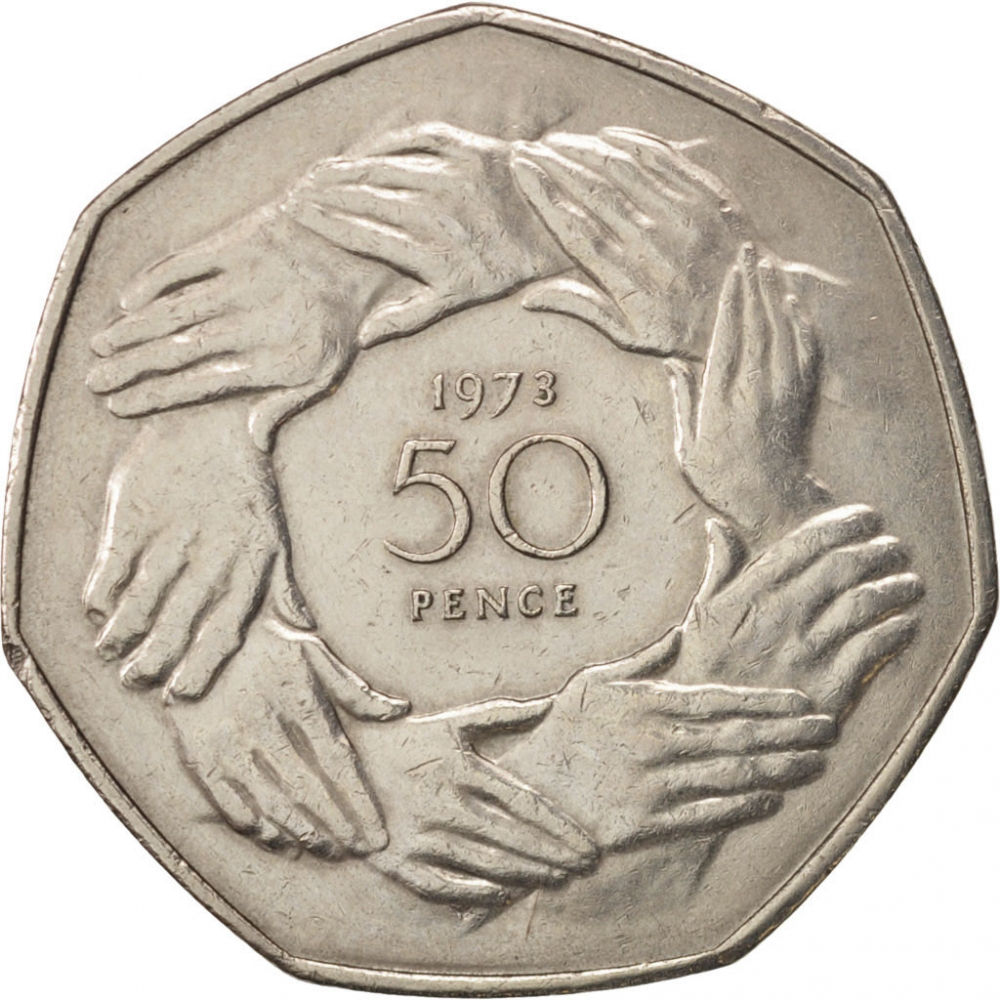 50 Pence 1973, KM# 918, United Kingdom (Great Britain), Elizabeth II, Entry into European Economic Community