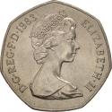 50 Pence 1982-1984, KM# 932, United Kingdom (Great Britain), Elizabeth II