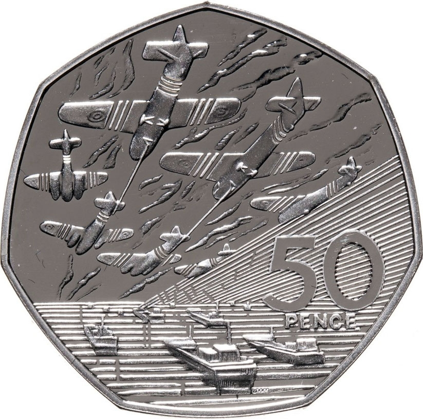 50 Pence 1994, KM# 966a, United Kingdom (Great Britain), Elizabeth II, 50th Anniversary of D-Day