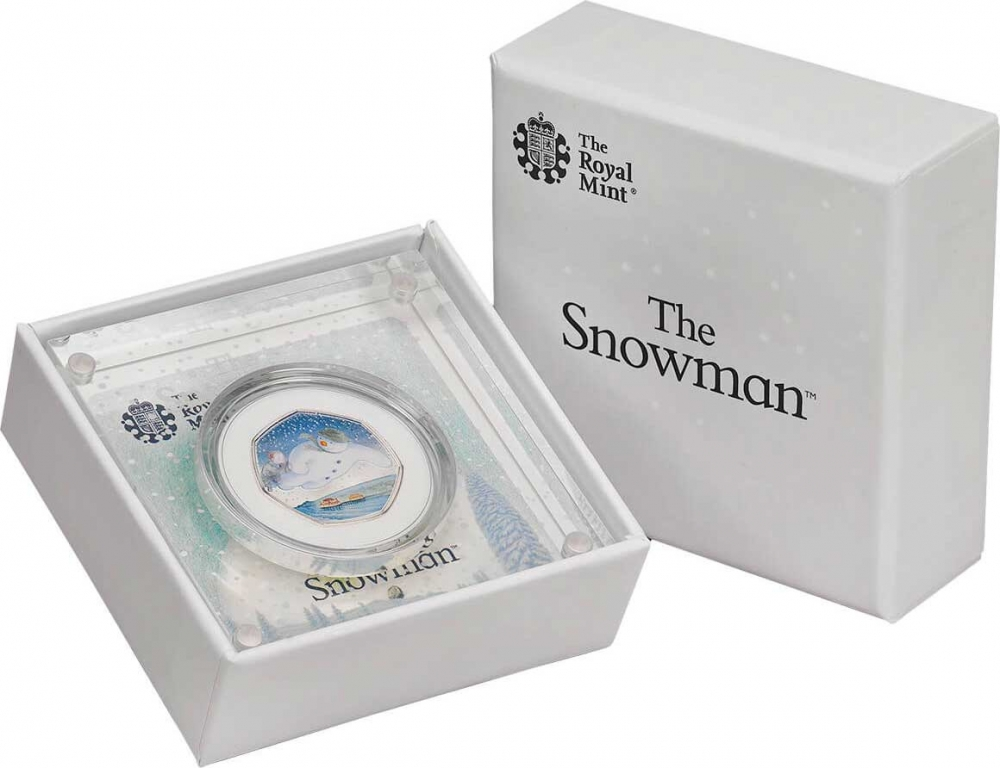 50 Pence 2018, United Kingdom (Great Britain), Elizabeth II, 40th Anniversary of The Snowman, Acrylic block