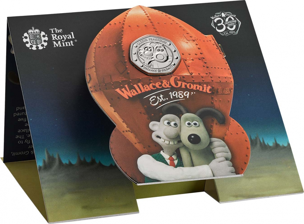 50 Pence 2019, United Kingdom (Great Britain), Elizabeth II, 30th Anniversary of Wallace and Gromit, Cracking rocket packaging