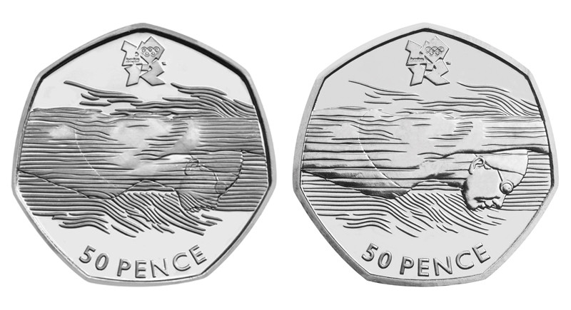 50 Pence 2011, KM# 1166, United Kingdom (Great Britain), Elizabeth II, London 2012 Summer Olympics, Aquatics, Error (on the left) and normal coins