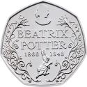 50 Pence 2016, Sp# H33, United Kingdom (Great Britain), Elizabeth II, 150th Anniversary of the Birth of Beatrix Potter, Beatrix Potter