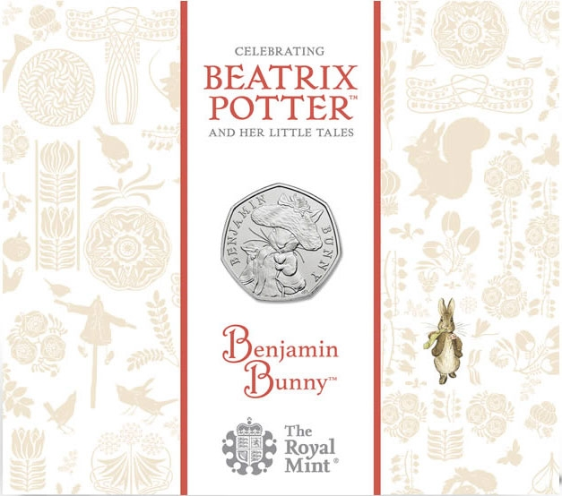 50 Pence 2017, United Kingdom (Great Britain), Elizabeth II, 150th Anniversary of Birth of Beatrix Potter, Benjamin Bunny, A colourful case inspired by Beatrix Potter's illustrations