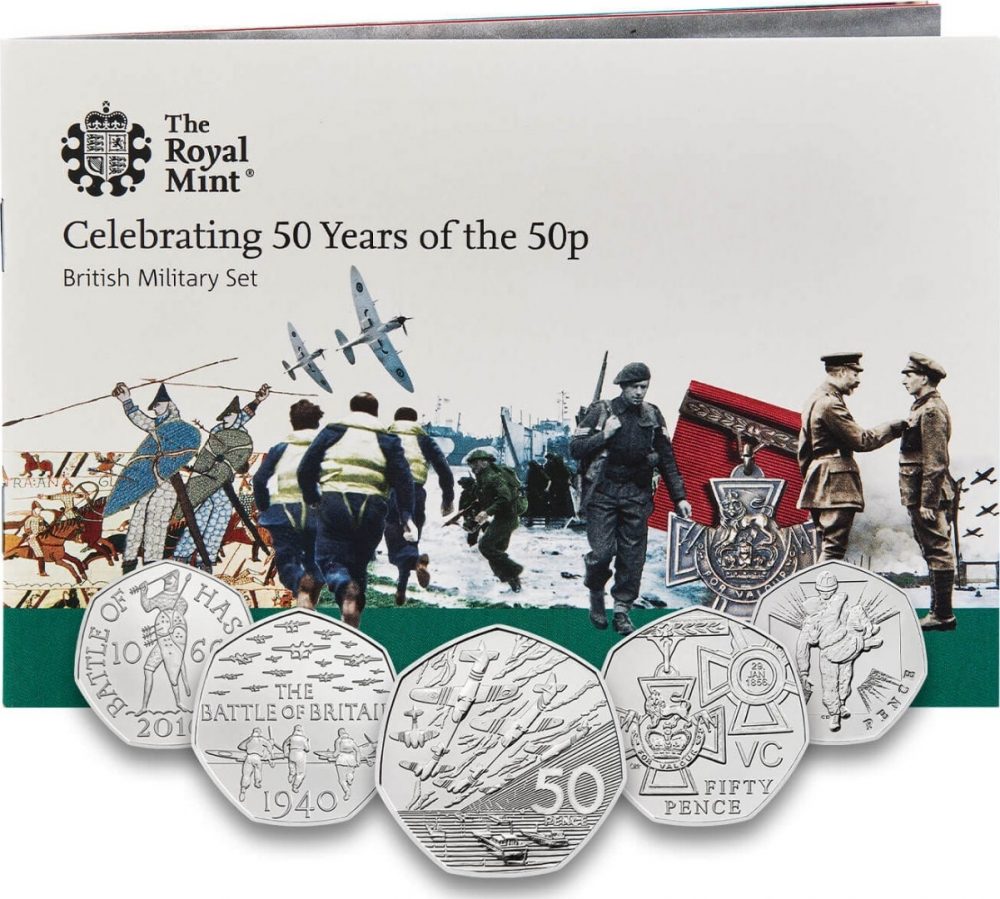 50 Pence 2019, United Kingdom (Great Britain), Elizabeth II, Celebrating 50 Years of the 50p, Military, 50th Anniversary of D-Day, Brilliant Uncirculated set