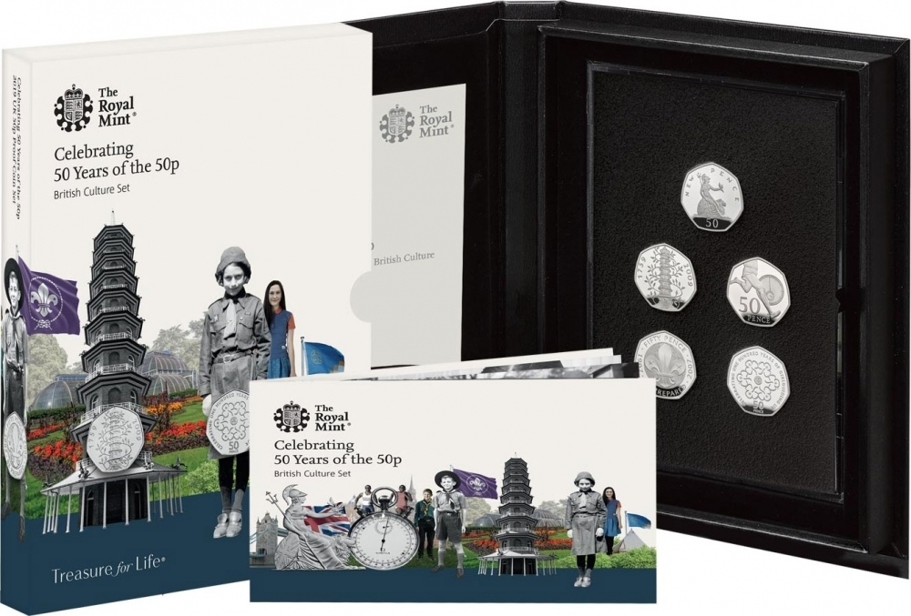 50 Pence 2019, United Kingdom (Great Britain), Elizabeth II, Celebrating 50 Years of the 50p, British Culture, 50 New Pence, Proof set