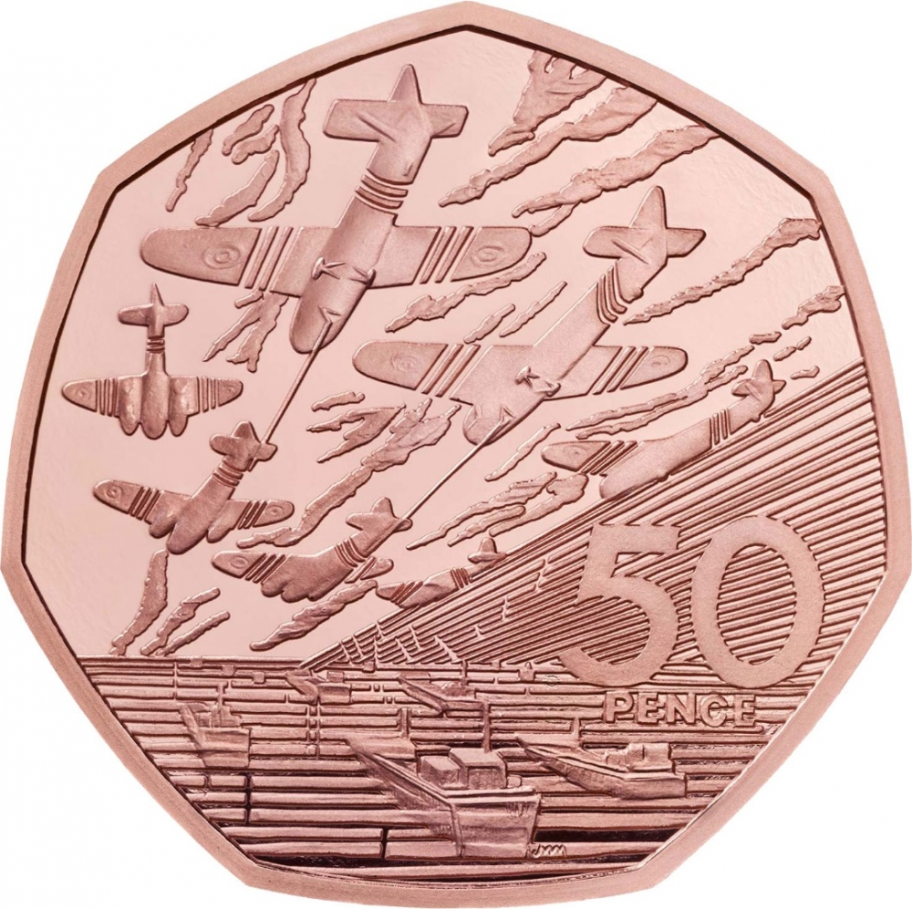 50 Pence 2019, United Kingdom (Great Britain), Elizabeth II, Celebrating 50 Years of the 50p, Military, 50th Anniversary of D-Day