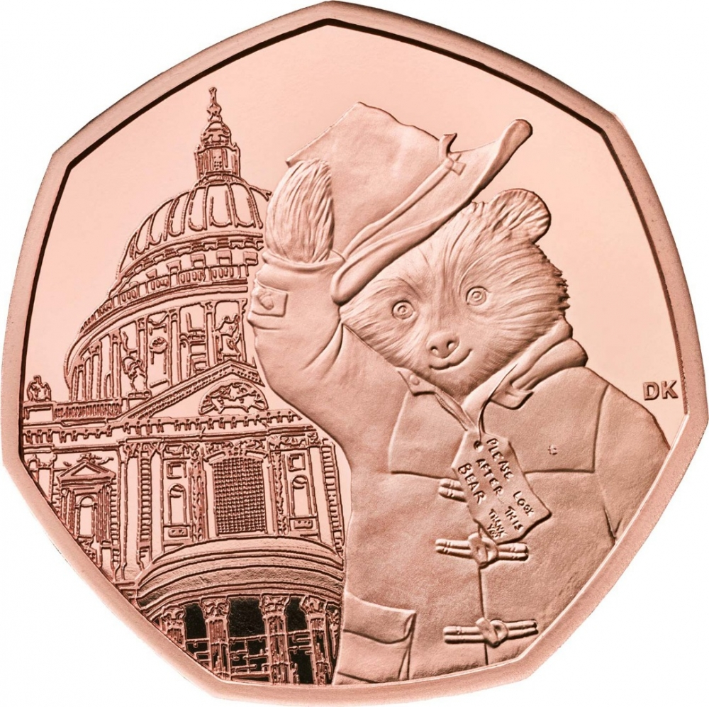 50 Pence 2019, United Kingdom (Great Britain), Elizabeth II, 60th Anniversary of Paddington Bear, Paddington at St Paul's Cathedral, Case with the certificate of authenticity and a booklet