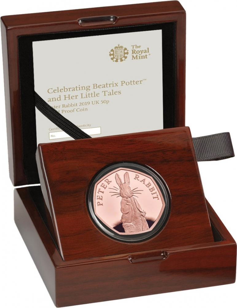 50 Pence 2019, United Kingdom (Great Britain), Elizabeth II, 150th Anniversary of Birth of Beatrix Potter, Peter Rabbit, Wooden box
