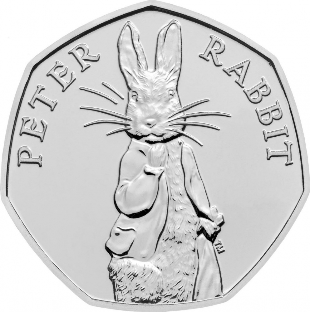 50 Pence 2019, United Kingdom (Great Britain), Elizabeth II, 150th Anniversary of Birth of Beatrix Potter, Peter Rabbit