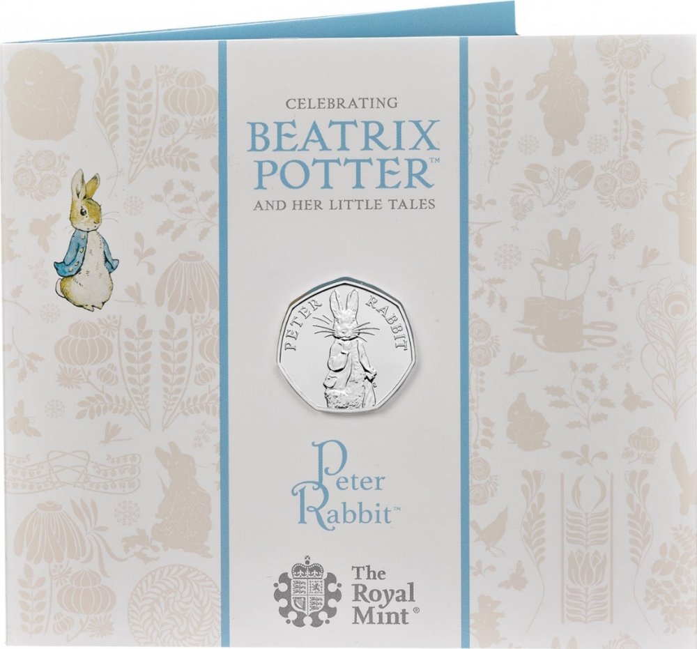 50 Pence 2019, United Kingdom (Great Britain), Elizabeth II, 150th Anniversary of Birth of Beatrix Potter, Peter Rabbit, Fold-out packaging: front