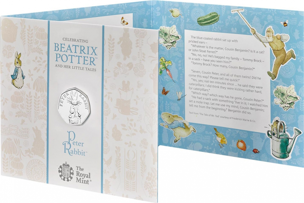 50 Pence 2019, United Kingdom (Great Britain), Elizabeth II, 150th Anniversary of Birth of Beatrix Potter, Peter Rabbit, Fold-out packaging