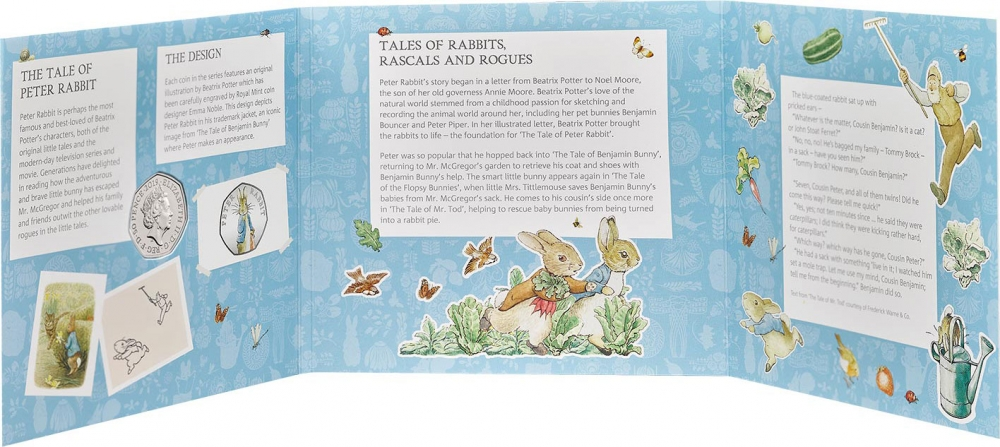 50 Pence 2019, United Kingdom (Great Britain), Elizabeth II, 150th Anniversary of Birth of Beatrix Potter, Peter Rabbit, Fold-out packaging: inside