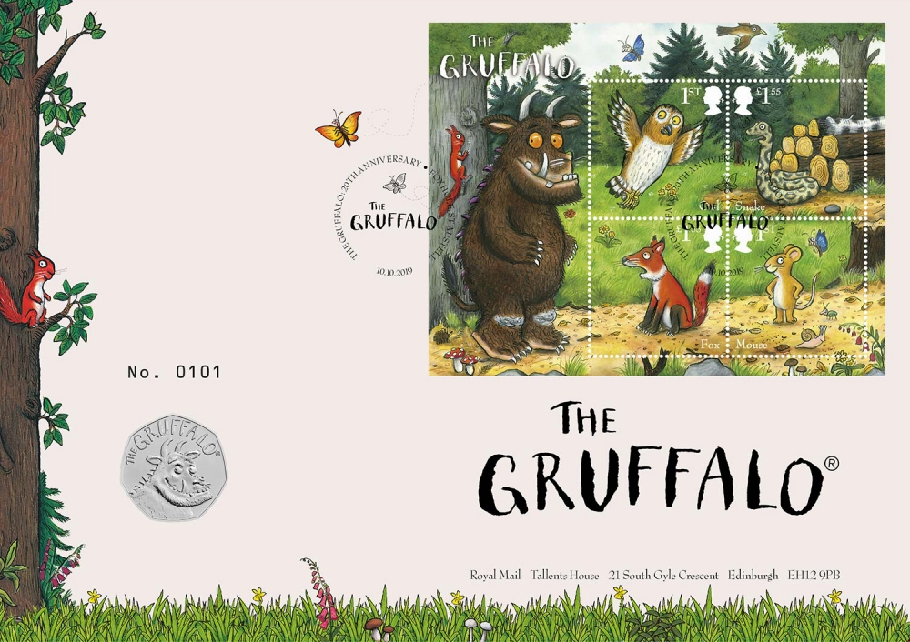50 Pence 2019, United Kingdom (Great Britain), Elizabeth II, 20th Anniversary of The Gruffalo, The Gruffalo, Coincard limited edition